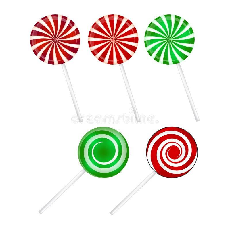 Reeks van de Kerstmis de gestreepte Lolly Spiraalvormig zoet suikergoed met strepen Vector illustratie die op een witte achtergro stock illustratie