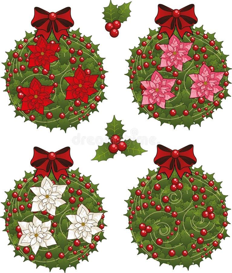 Reeks van de klemkunst van de decoratieve Kerstmismaretak stock illustratie