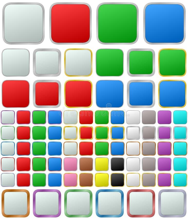 Reeks van de kleuren de metaal rond gemaakte vierkante knoop vector illustratie