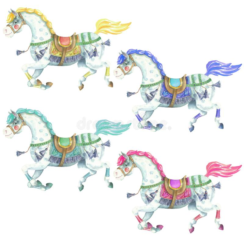 Reeks van de kleuren de Paarden Geïsoleerde Waterverf vector illustratie