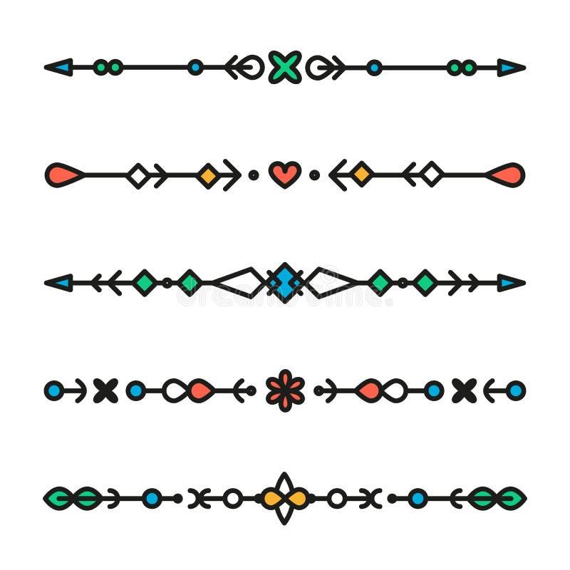 Reeks van de kleurrijke geïsoleerde vector van lijn geometrische verdelers royalty-vrije illustratie
