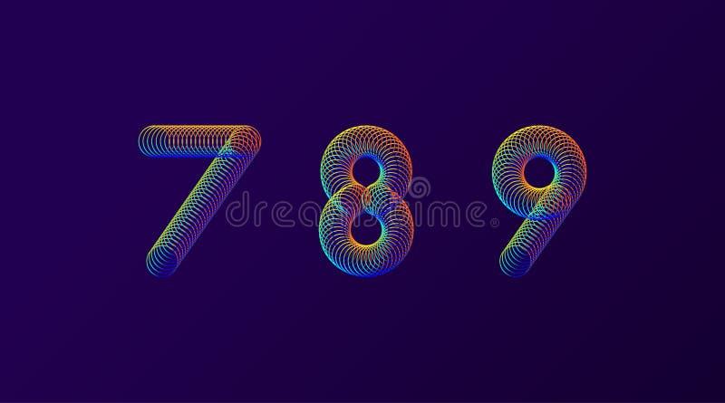 Reeks van de kleurrijke moderne abstracte vectorillustratie van het aantallen creatieve ontwerp 7 8 9 geïsoleerde de lentecijfers stock illustratie