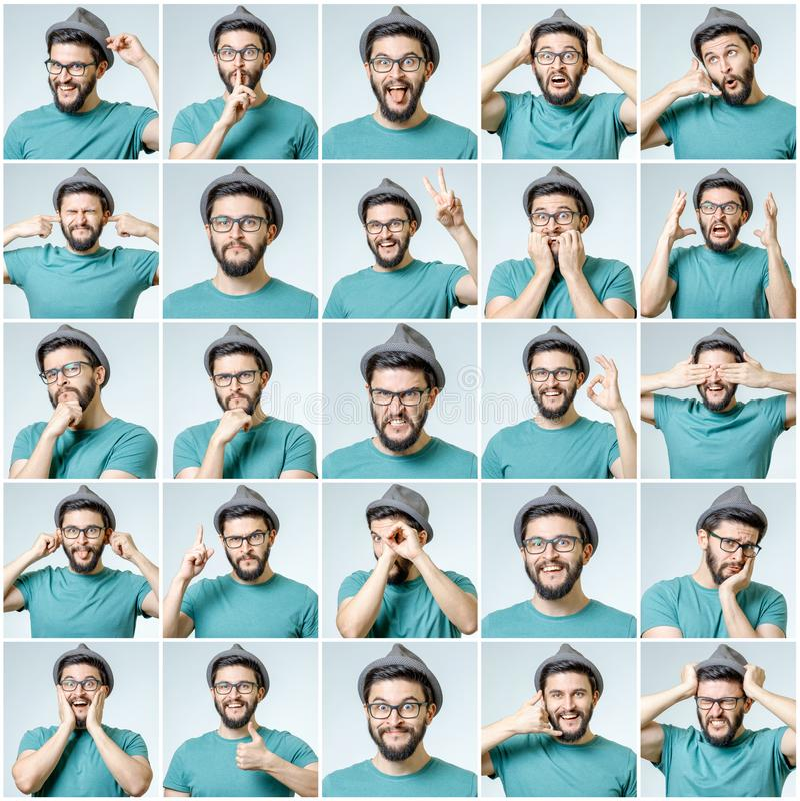 Reeks van de knappe emotionele mens stock fotografie