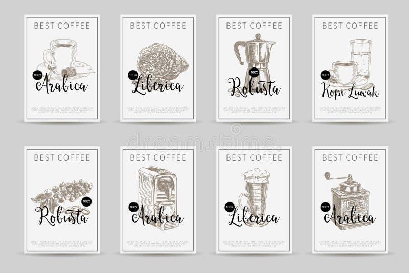 Reeks van de koffie de vectoraffiche llustrations in schetsstijl Mede kaarten stock illustratie