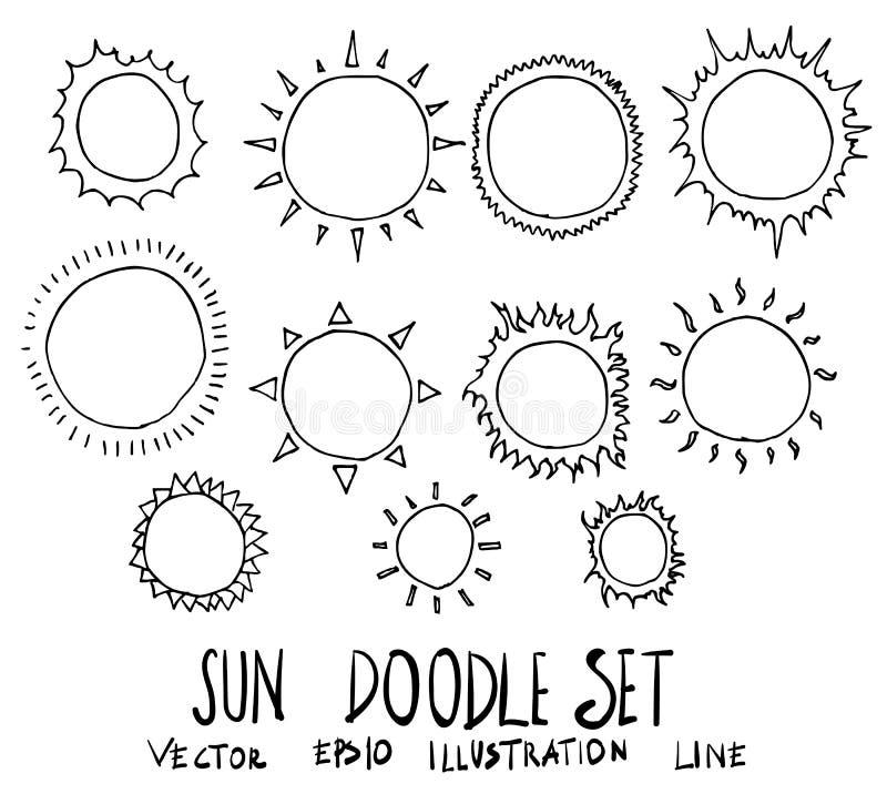 Reeks van van de de krabbelschets van de Zonillustratie de Hand getrokken lijn vectoreps stock illustratie