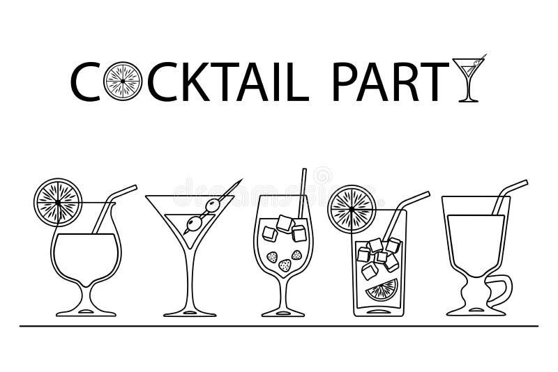 Reeks van de kunstontwerp van de cocktailslijn op witte achtergrond stock illustratie