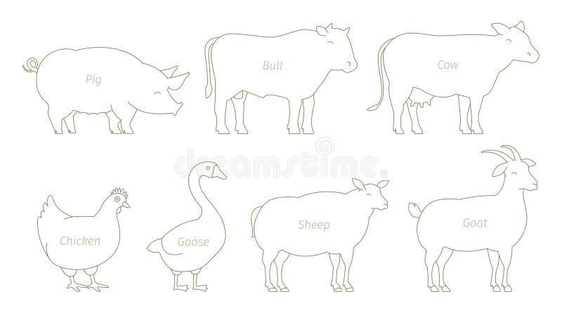 Reeks van de landbouwbedrijf de Dierlijke lijn Landbouw en veeteeltproductie Koe en stier, eend en kip Schapengeit en varken De l vector illustratie