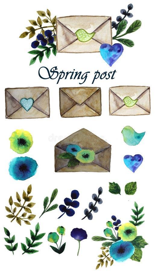 Reeks van de lentepost stock afbeelding