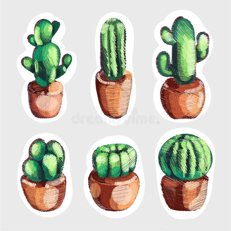 Reeks van de leuke cactus van het verkoopborduurwerk in pottenpictogrammen stock foto's