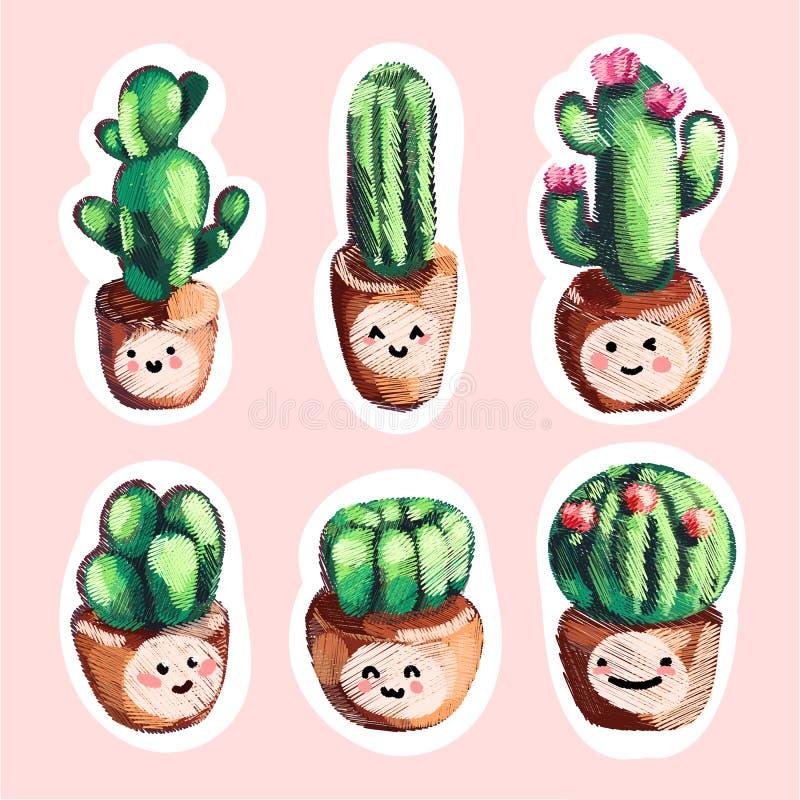 Reeks van de leuke cactus van het verkoopborduurwerk in pottenpictogrammen met glimlach royalty-vrije illustratie