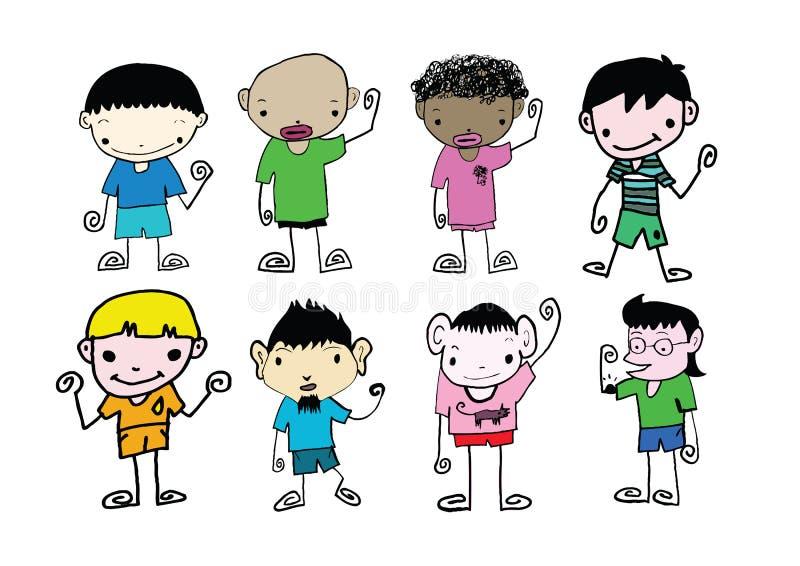 Reeks van de leuke mens en jong jongensbeeldverhaal stock illustratie