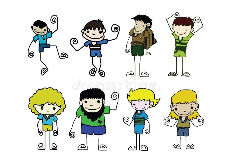 Reeks van de leuke mens en jong jongensbeeldverhaal vector illustratie