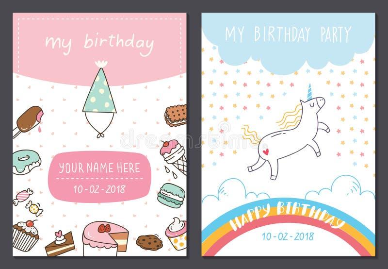 Reeks van de leuke ontwerpsjabloon van de verjaardagskaart royalty-vrije illustratie
