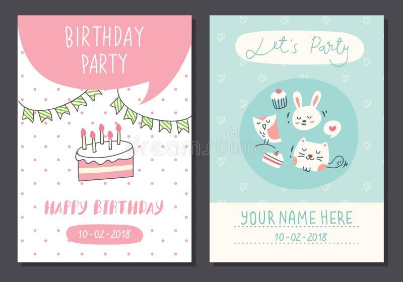 Reeks van de leuke ontwerpsjabloon van de verjaardagskaart vector illustratie