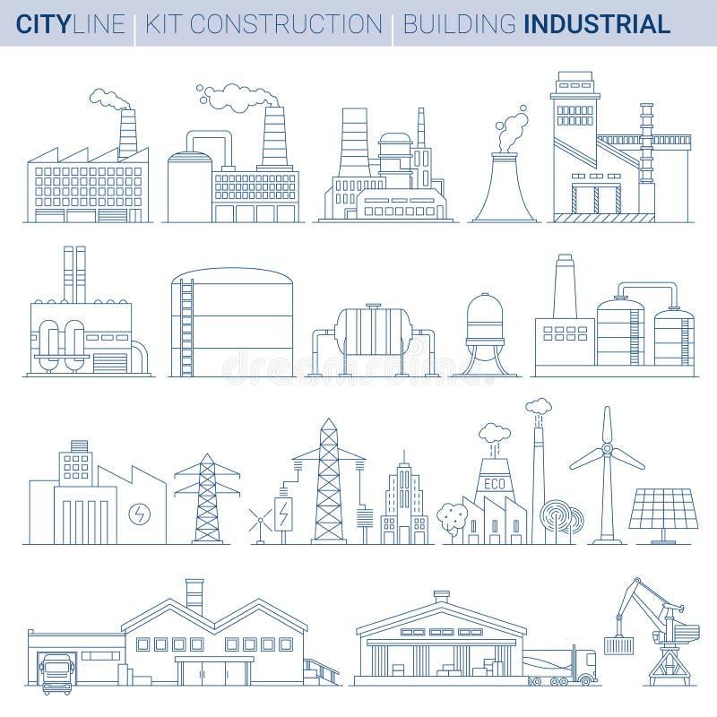 Reeks van de lijn de vectorillustratie Industriële gebouwen vector illustratie
