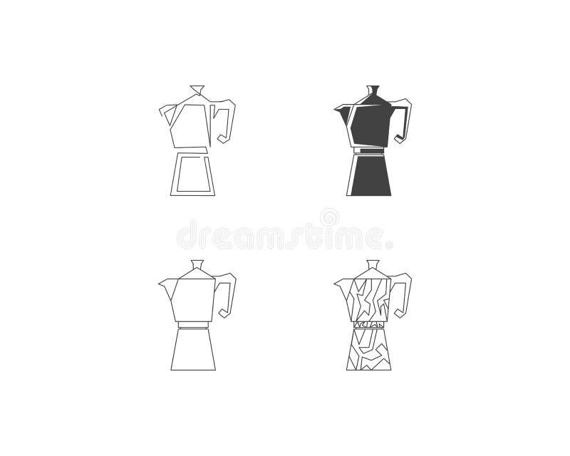 Reeks van de lijnpictogram van het Geiserkoffiezetapparaat, het embleem van de Koffiepot, koffiezetapparaat vectorembleem, het em stock illustratie