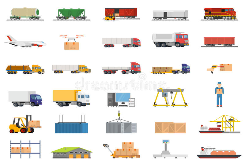 Reeks van de Logistiekconcept van het Pictogrammenvervoer vector illustratie