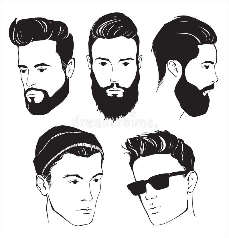 Reeks van de mens van de hipstermanier met baard, snor en Zonnebril vector illustratie