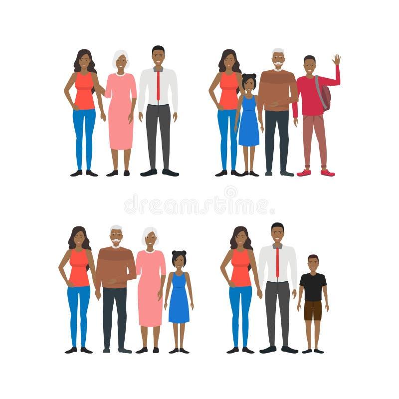 Reeks van de de Mensen de Afrikaanse Amerikaanse Groep van beeldverhaalkarakters Vector vector illustratie