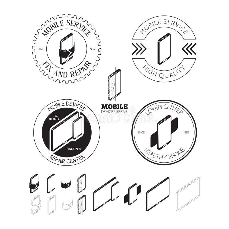 Reeks van de mobiele emblemen van de reparatiedienst, etiketten, kentekens en ontwerp Gr vector illustratie