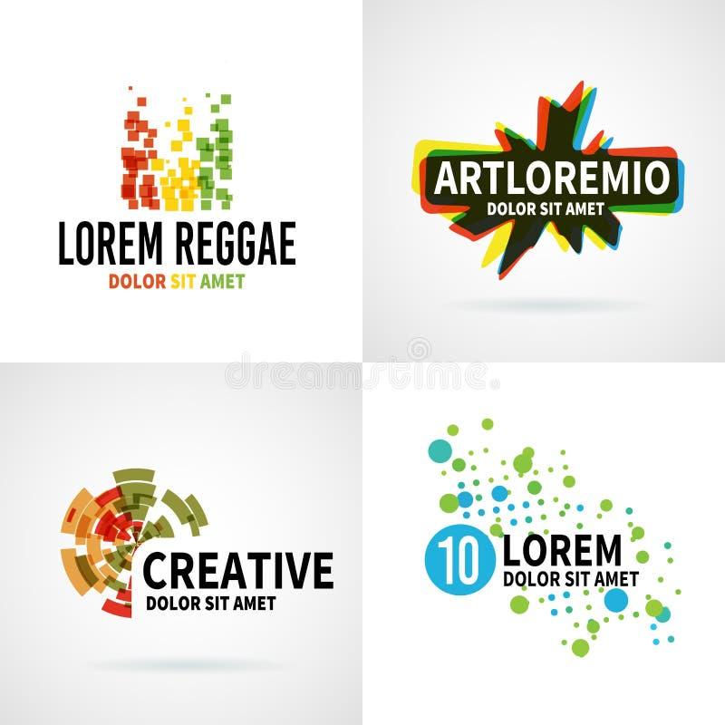 Reeks van de moderne kleurrijke abstracte vector van het embleemembleem stock illustratie