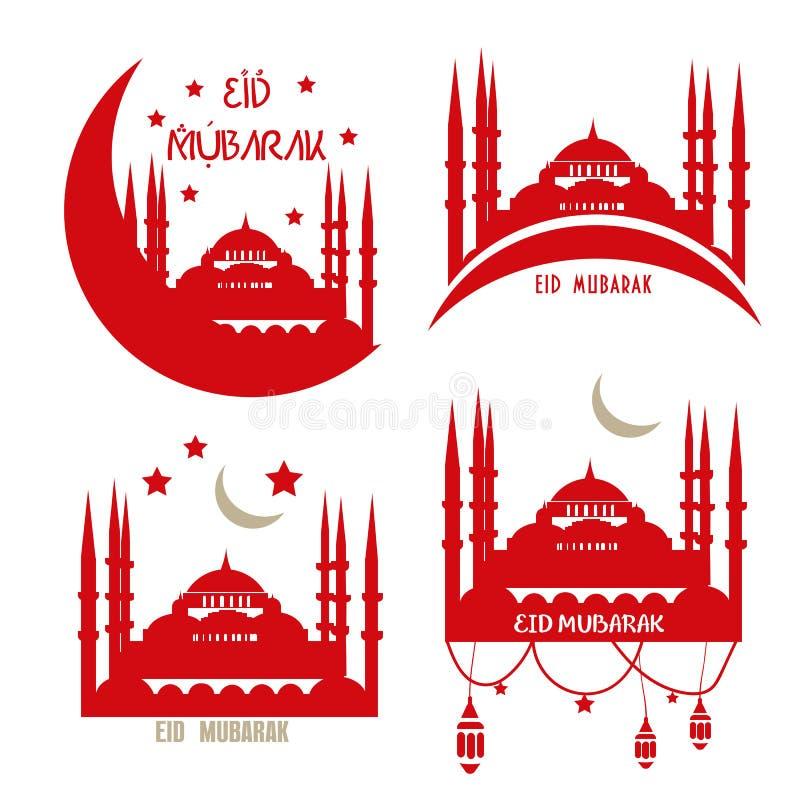 Reeks van de Moslimgemeenschap van groetkaarten: Eid al-Adha royalty-vrije illustratie