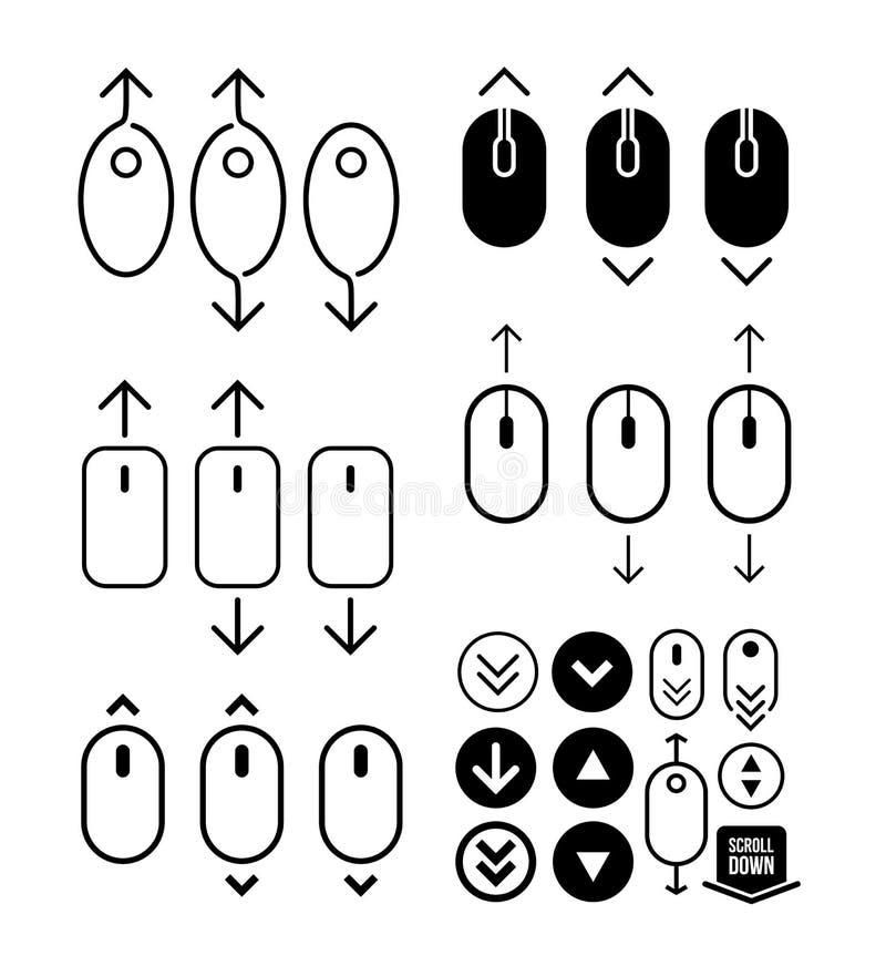 Reeks van de muispictogram van de rol neer omhoog computer Vlak Ontwerp Vector illustratie Geïsoleerdj op witte achtergrond stock illustratie