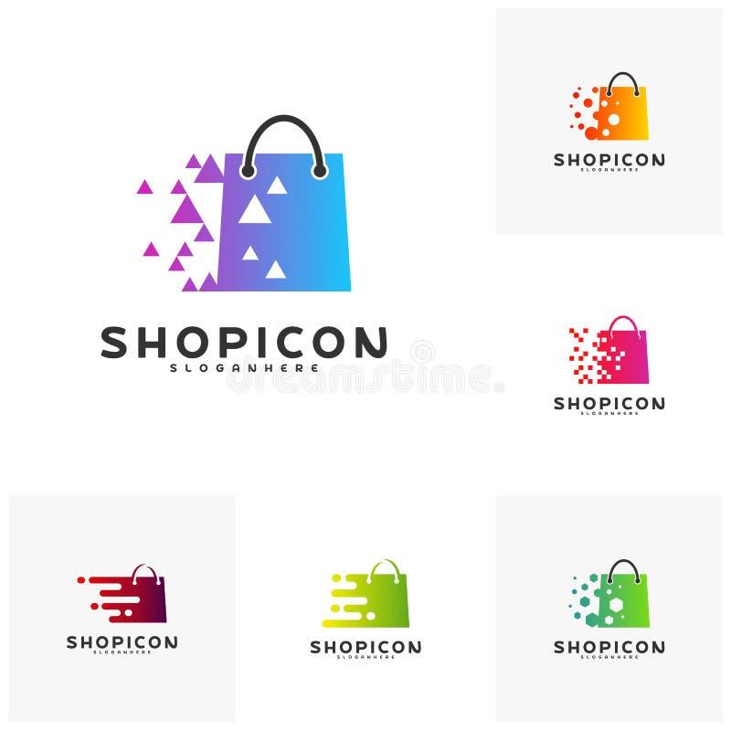 Reeks van de Online Markt Logo Template Design Vector, Pixelwinkel Logo Design Element van de Winkelopslag vector illustratie