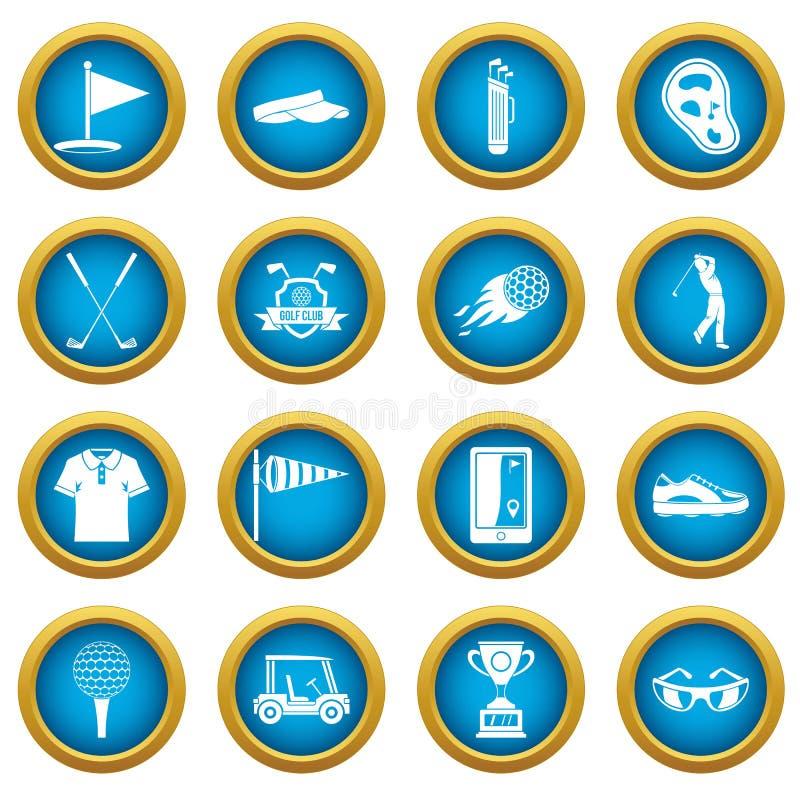 Reeks van de de pictogrammen de blauwe cirkel van golfpunten royalty-vrije illustratie