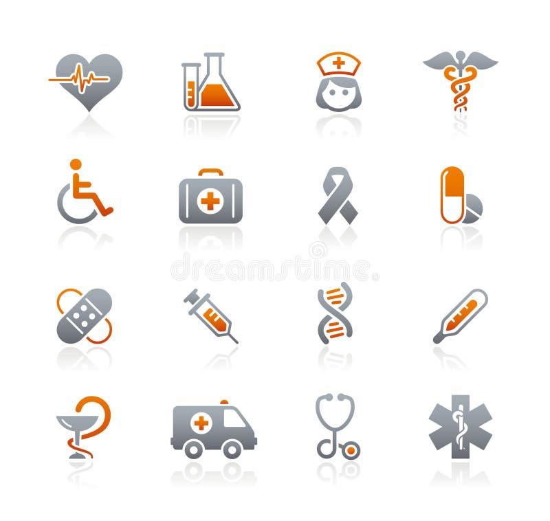 Reeks van de Pictogrammen van // van de zorg van de geneeskunde & van de Dopheide de Grafiet royalty-vrije illustratie