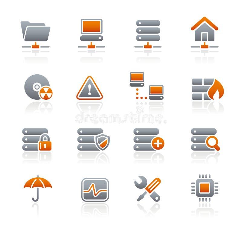 Reeks van de Pictogrammen van // van het netwerk & van de Server de Grafiet vector illustratie