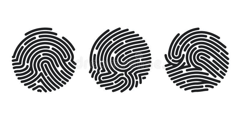 Reeks van de pictogrammenontwerp van de Cirkelvingerafdruk voor toepassing Vingerafdruk vlak aftasten Vector illustratie die op w royalty-vrije illustratie