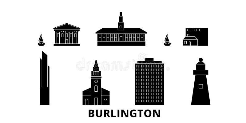 Reeks van de de reishorizon van Verenigde Staten, Burlington de vlakke Zwarte de stads vectorillustratie van Verenigde Staten, Bu stock illustratie