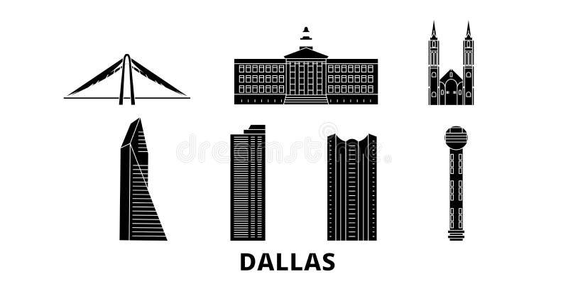 Reeks van de de reishorizon van Verenigde Staten, Dallas de vlakke Zwarte de stads vectorillustratie van Verenigde Staten, Dallas royalty-vrije illustratie
