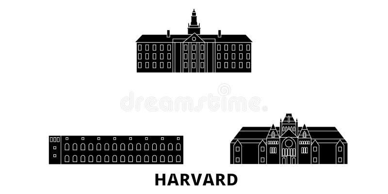Reeks van de de reishorizon van Verenigde Staten, Harvard de vlakke Zwarte de stads vectorillustratie van Verenigde Staten, Harva stock illustratie