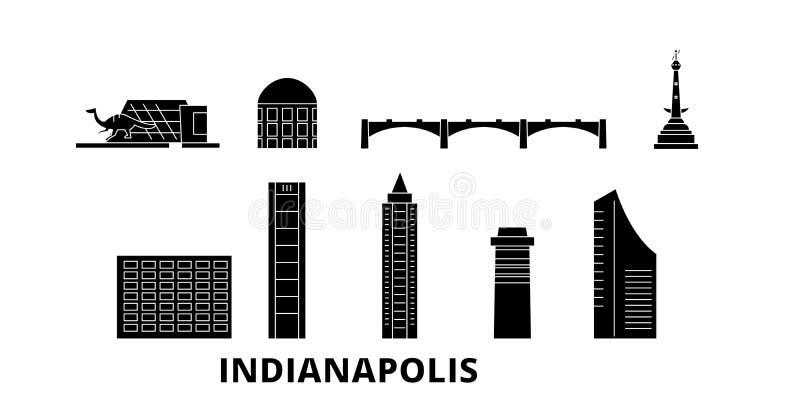 Reeks van de de reishorizon van Verenigde Staten, Indianapolis de vlakke Zwarte de stads vectorillustratie van Verenigde Staten,  vector illustratie