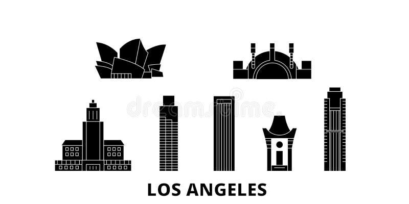 Reeks van de de reishorizon van Verenigde Staten, Los Angeles de vlakke Zwarte de stads vectorillustratie van Verenigde Staten, L royalty-vrije illustratie