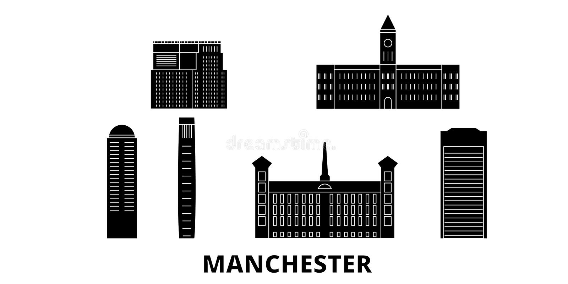 Reeks van de de reishorizon van Verenigde Staten, Manchester de vlakke Zwarte de stads vectorillustratie van Verenigde Staten, Ma vector illustratie