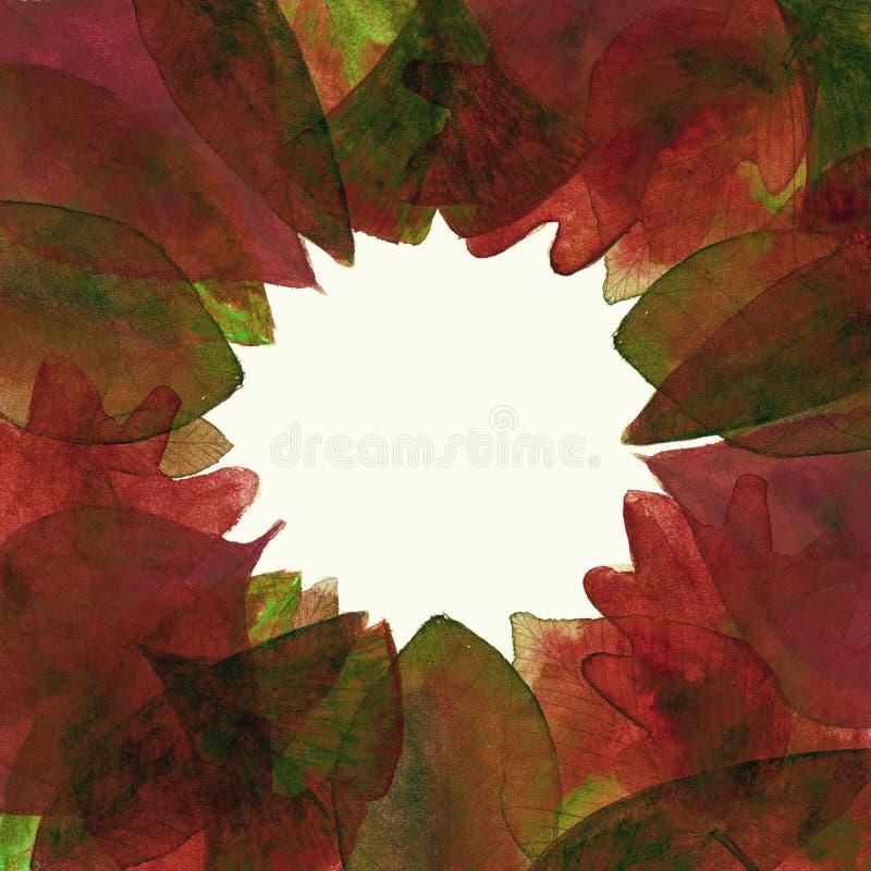 Reeks van de rode achtergrond van waterverfbladeren stock afbeeldingen