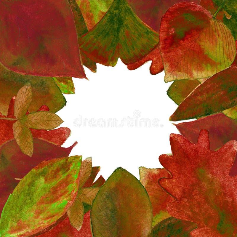 Reeks van de rode achtergrond van waterverfbladeren royalty-vrije stock foto
