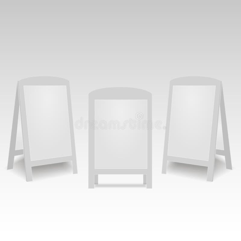 Reeks van de ronde ovale lege lege stoep van de sandwichtribunes van de reclamestraat handbediende Vector illustratie vector illustratie