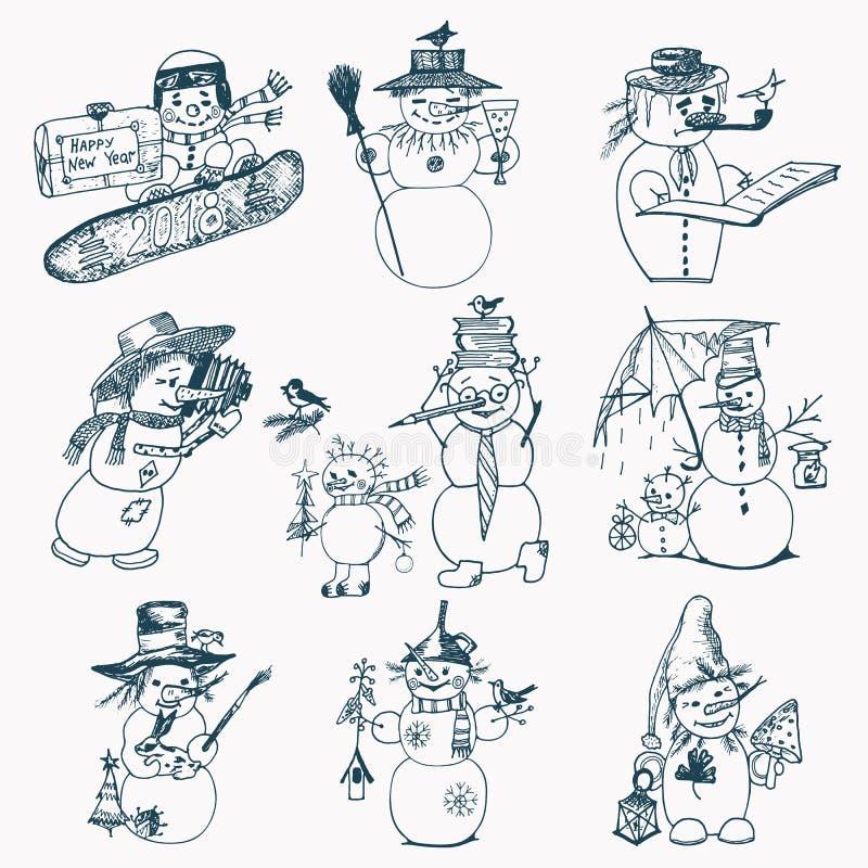 Reeks van de sneeuwman van de de wintervakantie in verschillende kostuums fotograaf en kunstenaar met giften gegraveerde die hand stock illustratie