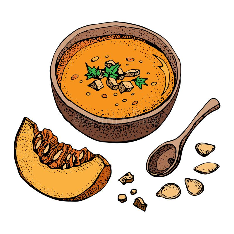 Reeks van de de soep de vectortekening van de pompoenroom Geïsoleerde hand getrokken kom soep, gesneden stuk van pompoen en zaden vector illustratie