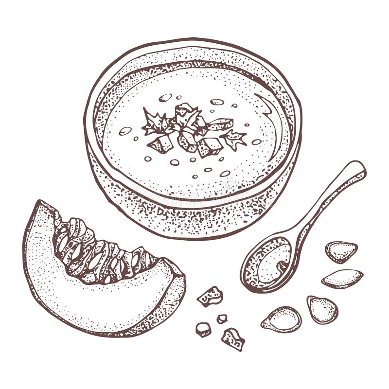Reeks van de de soep de vectortekening van de pompoenroom Geïsoleerde hand getrokken kom soep, gesneden stuk van pompoen en zaden royalty-vrije illustratie