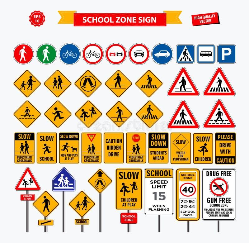 Reeks van de streek van het schoolteken, voetganger, en andere streek van de straatschool vector illustratie