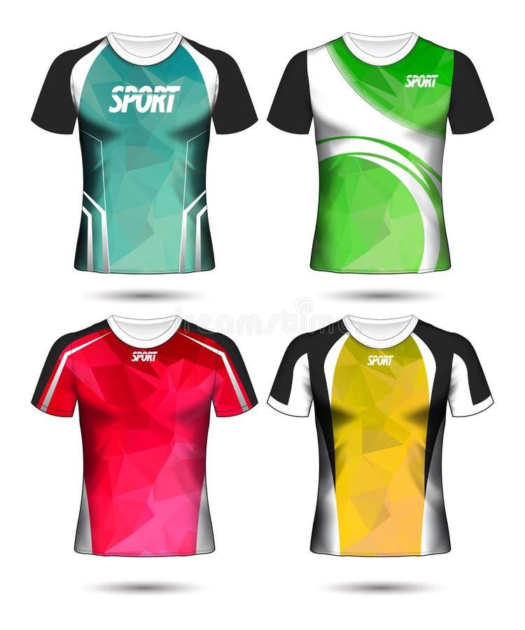 Reeks van van de de t-shirtlay-out van de Voetbalsport het ontwerp polymalplaatje en polo royalty-vrije illustratie