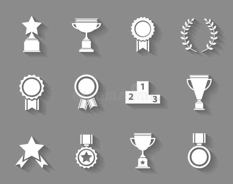 Reeks van de toekenningssucces en overwinning pictogrammen stock illustratie