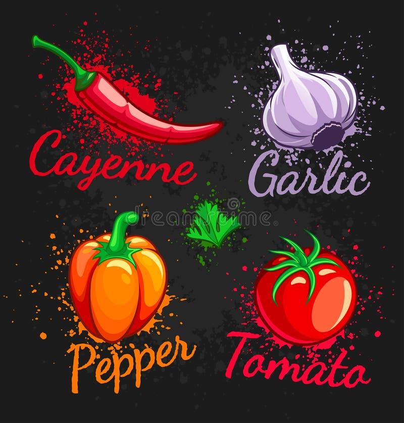Reeks van van de de tomatenpeper van de verse groentenkers het knoflookspaanse peper en peterselie royalty-vrije illustratie