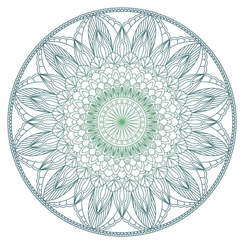 Reeks van de uitstekende kaart van de Huwelijksuitnodiging met Mandala-patroon en in kleur Meditatieelement voor de yoga van Indi royalty-vrije illustratie
