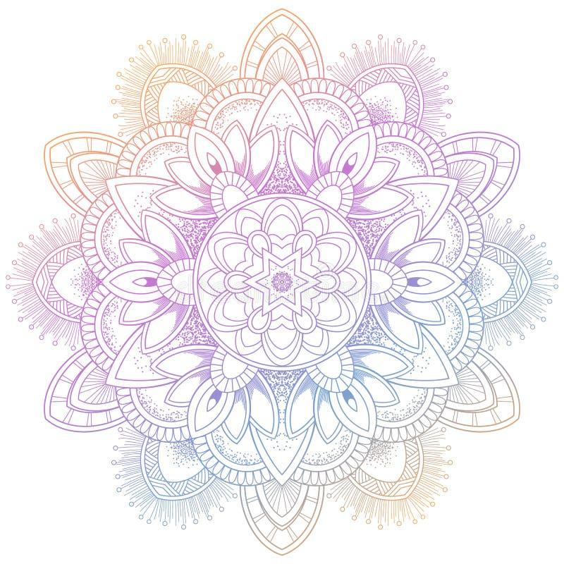 Reeks van de uitstekende kaart van de Huwelijksuitnodiging met Mandala-patroon en in kleur Vectorillustrator van abstrackachtergr royalty-vrije illustratie